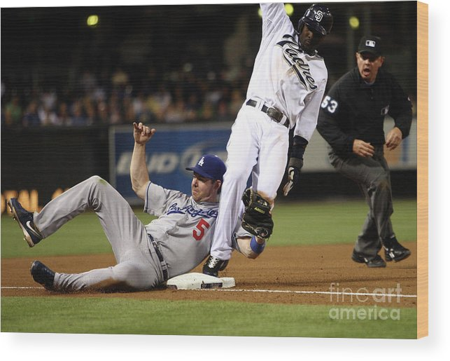 Tony Gwynn Jr. Wood Print featuring the photograph Mark Loretta by Donald Miralle