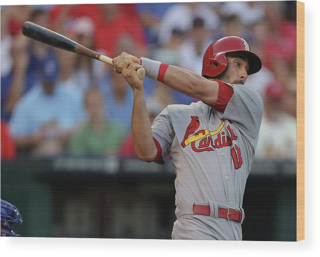 St. Louis Cardinals Wood Print featuring the photograph Matt Carpenter by Ed Zurga