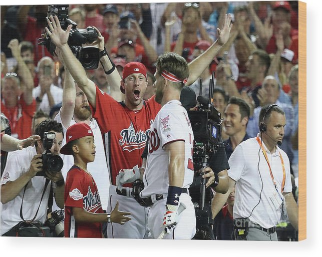 People Wood Print featuring the photograph Max Scherzer and Bryce Harper by Rob Carr