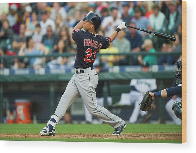 People Wood Print featuring the photograph Michael Brantley by Rich Lam