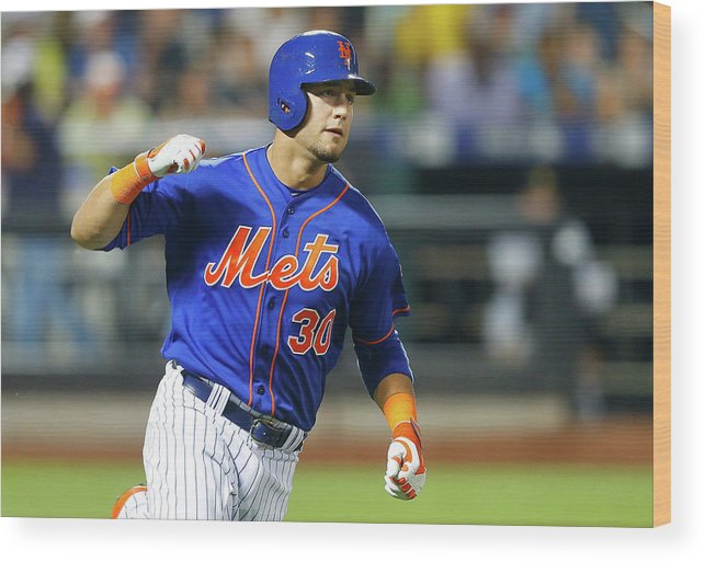 American League Baseball Wood Print featuring the photograph Michael Conforto by Jim Mcisaac