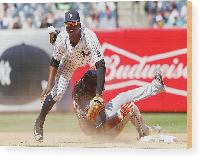 Double Play Wood Print featuring the photograph Michael Martinez and Didi Gregorius by Jim Mcisaac