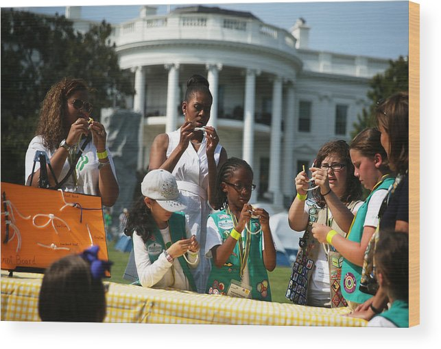 Event Wood Print featuring the photograph Michelle Obama Hosts Girls Scouts At First-Ever White House Campout by Alex Wong