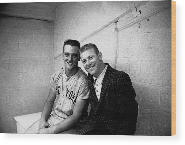 American League Baseball Wood Print featuring the photograph Mickey Mantle and Roger Maris by Herb Scharfman/sports Imagery
