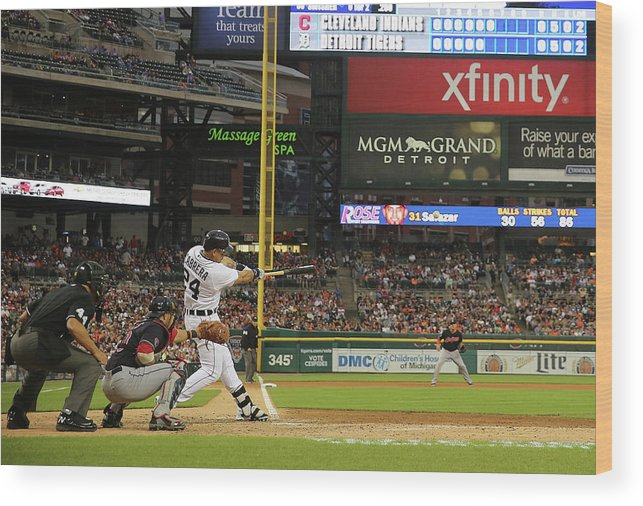 People Wood Print featuring the photograph Miguel Cabrera, Anthony Gose, and Rajai Davis by Leon Halip