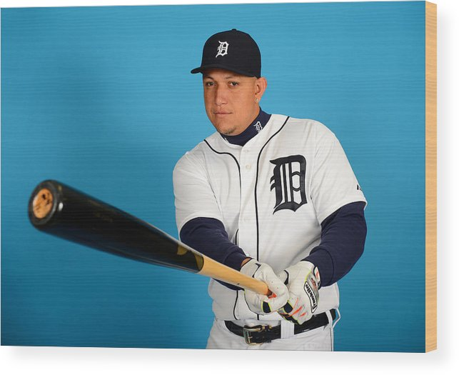 Media Day Wood Print featuring the photograph Miguel Cabrera by Mark Cunningham