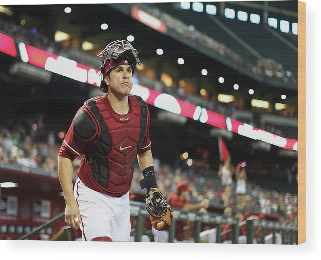 Baseball Catcher Wood Print featuring the photograph Miguel Montero by Christian Petersen