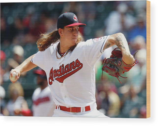American League Baseball Wood Print featuring the photograph Mike Clevinger by David Maxwell