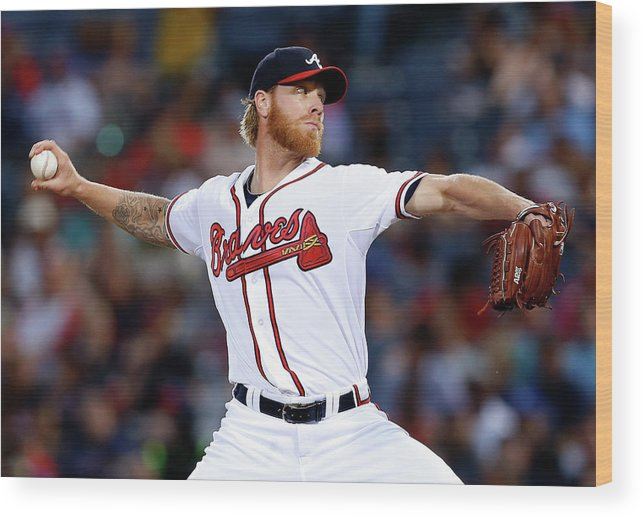 Atlanta Wood Print featuring the photograph Mike Foltynewicz by Mike Zarrilli