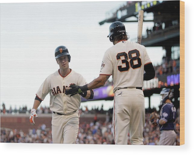 San Francisco Wood Print featuring the photograph Mike Morse and Buster Posey by Ezra Shaw