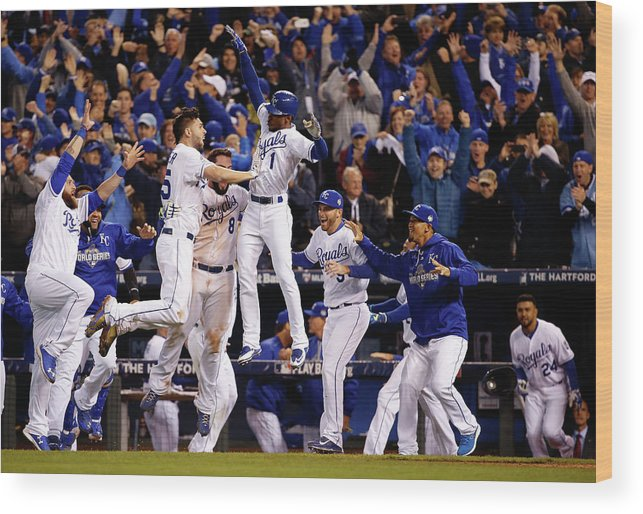 People Wood Print featuring the photograph Mike Moustakas, Jarrod Dyson, and Eric Hosmer by Sean M. Haffey