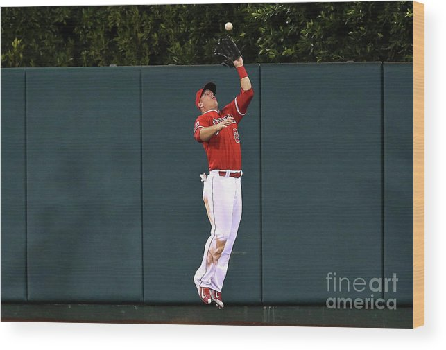 People Wood Print featuring the photograph Mike Trout and Eduardo Escobar by Stephen Dunn