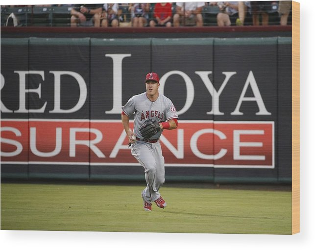 People Wood Print featuring the photograph Mike Trout by Ron Jenkins