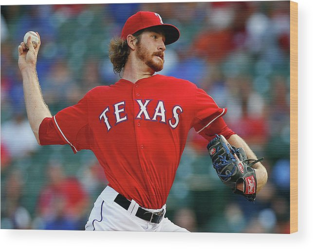 American League Baseball Wood Print featuring the photograph Miles Mikolas by Tom Pennington