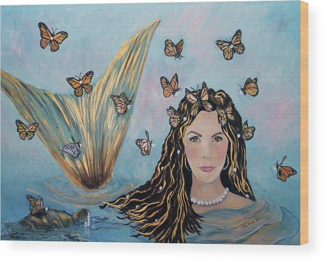 Mermaid Wood Print featuring the painting More Precious Than Gold by Linda Queally