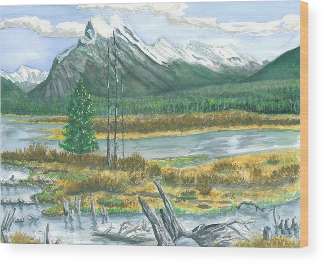 Mountains And Stream Wood Print featuring the painting Mount Rundle Canadian Rockies by Dan Bozich