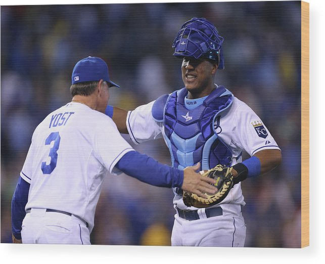 Salvador Perez Diaz Wood Print featuring the photograph Ned Yost by Ed Zurga