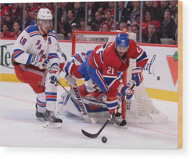 Marc Staal Wood Print featuring the photograph New York Rangers v Montreal Canadiens - Game Five by Richard Wolowicz