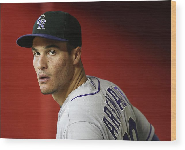 National League Baseball Wood Print featuring the photograph Nolan Arenado by Christian Petersen