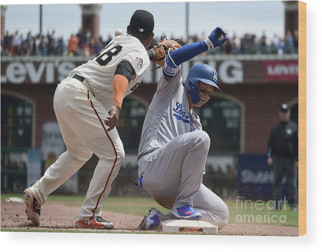 San Francisco Wood Print featuring the photograph Pablo Sandoval and Joc Pederson by Thearon W. Henderson