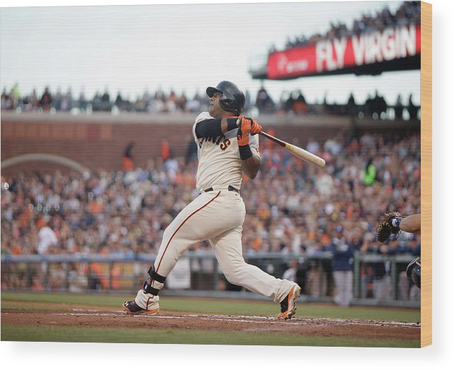 San Francisco Wood Print featuring the photograph Pablo Sandoval by Ezra Shaw