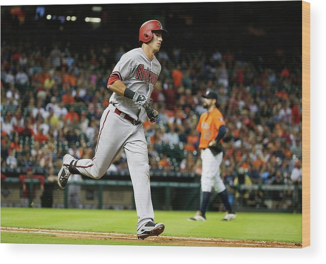 People Wood Print featuring the photograph Pat Neshek and Jake Lamb by Scott Halleran
