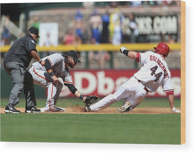 2nd Base Wood Print featuring the photograph Paul Goldschmidt and Brandon Crawford by Christian Petersen