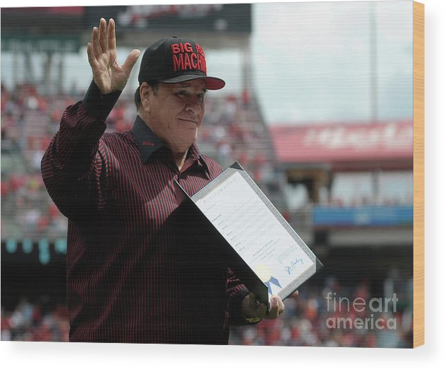 Great American Ball Park Wood Print featuring the photograph Pete Rose by Dylan Buell