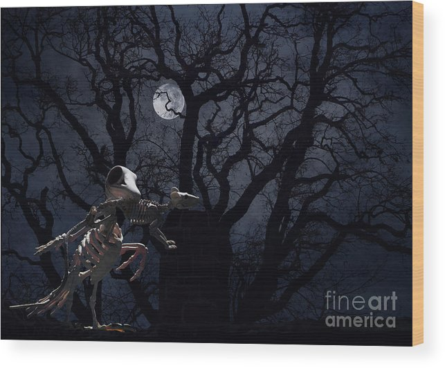 Raven Wood Print featuring the photograph Raven and Rat Skeleton in Moonlight - Halloween by Colleen Cornelius