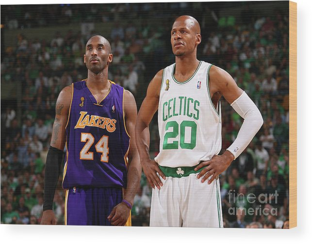 Nba Pro Basketball Wood Print featuring the photograph Ray Allen and Kobe Bryant by Jesse D. Garrabrant