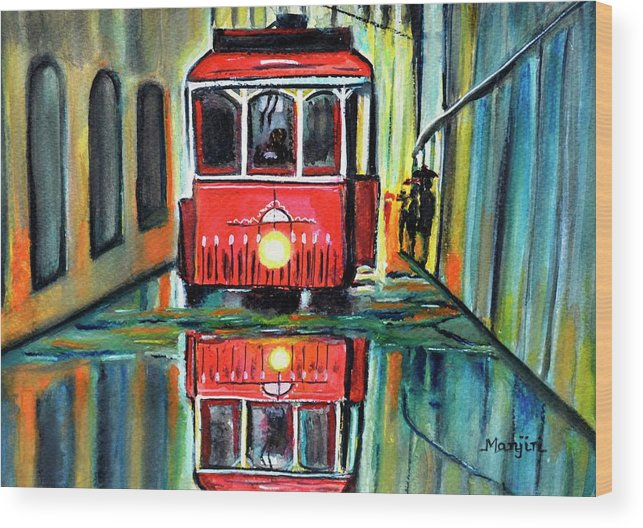 Redtram Wood Print featuring the painting Red Tram Rainy landscape by Manjiri Kanvinde
