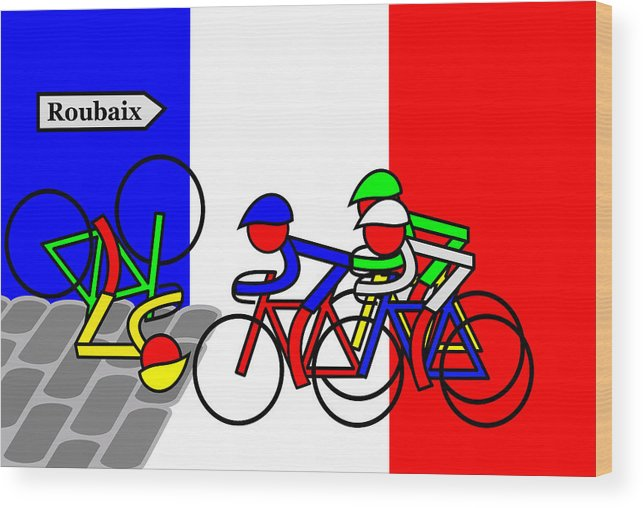 Roubaix Wood Print featuring the mixed media Roubaix by Asbjorn Lonvig