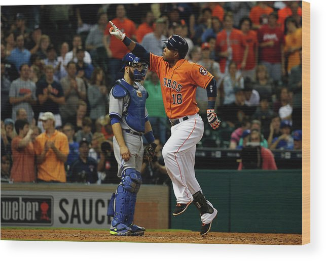 People Wood Print featuring the photograph Russell Martin and Luis Valbuena by Scott Halleran