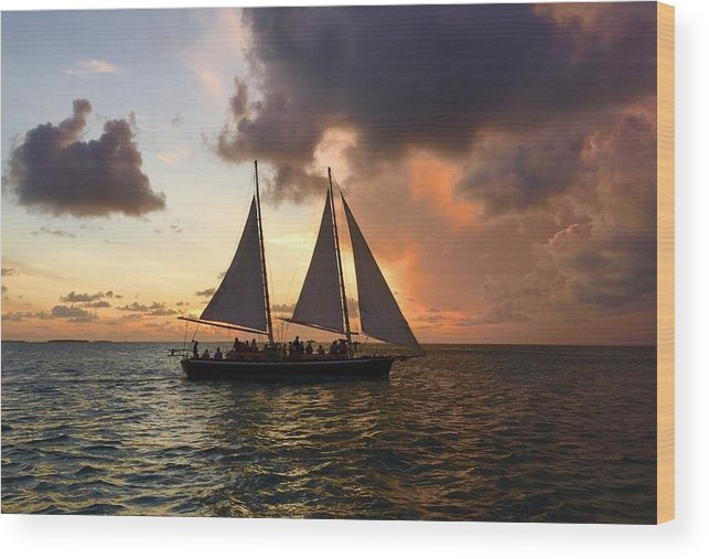 Orange Color Wood Print featuring the photograph Sailboat Moving On River Against Cloudy Sky by Gerard Corbett / EyeEm