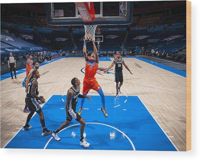 Nba Pro Basketball Wood Print featuring the photograph San Antonio Spurs v Oklahoma City Thunder by Zach Beeker