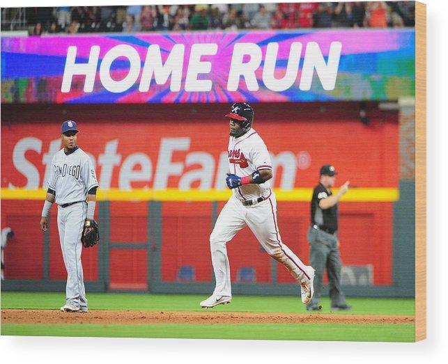 Atlanta Wood Print featuring the photograph San Diego Padres v Atlanta Braves by Scott Cunningham