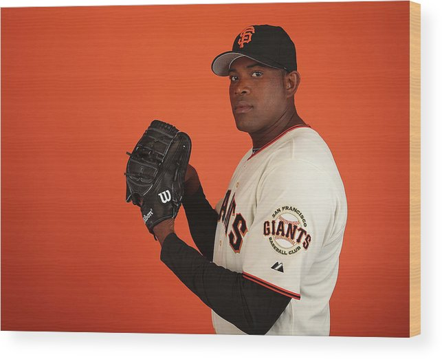 Media Day Wood Print featuring the photograph Santiago Casilla by Christian Petersen