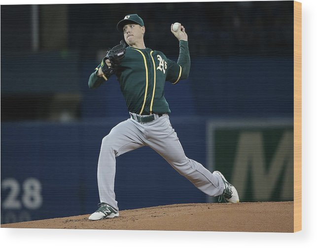 American League Baseball Wood Print featuring the photograph Scott Kazmir by Tom Szczerbowski