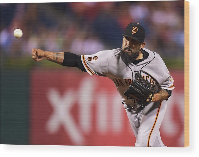 Three Quarter Length Wood Print featuring the photograph Sergio Romo by Drew Hallowell