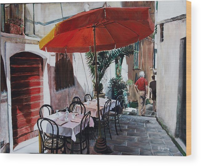 Cafe Wood Print featuring the painting Red Umbrella Outdoor Cafe by Jennifer Lycke