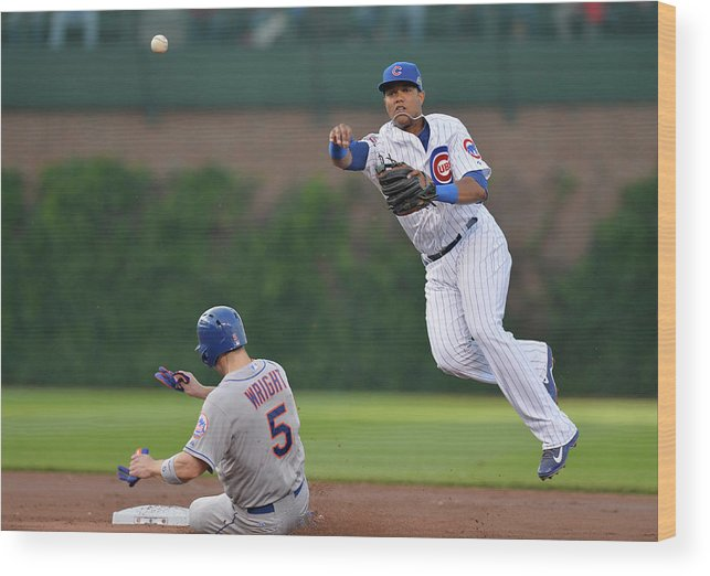 Double Play Wood Print featuring the photograph Starlin Castro, Curtis Granderson, and David Wright by Brian Kersey