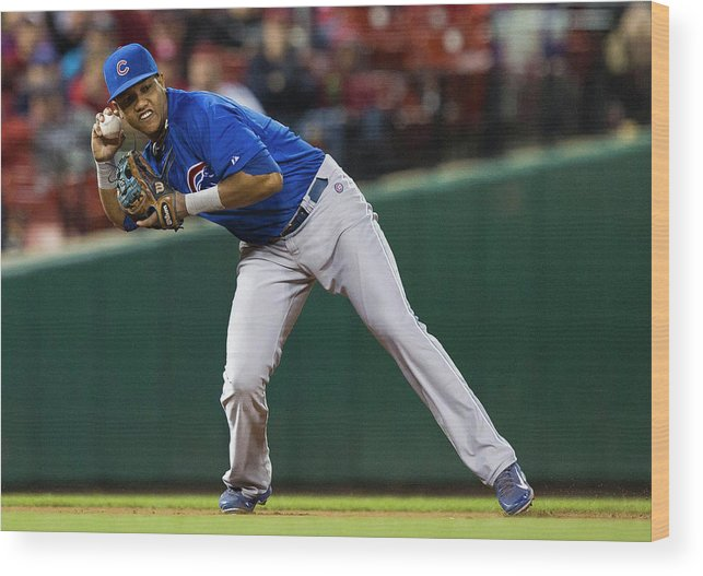 2nd Base Wood Print featuring the photograph Starlin Castro by David Welker