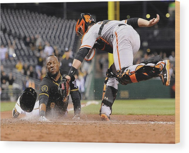 Ninth Inning Wood Print featuring the photograph Starling Marte and Buster Posey by Joe Sargent