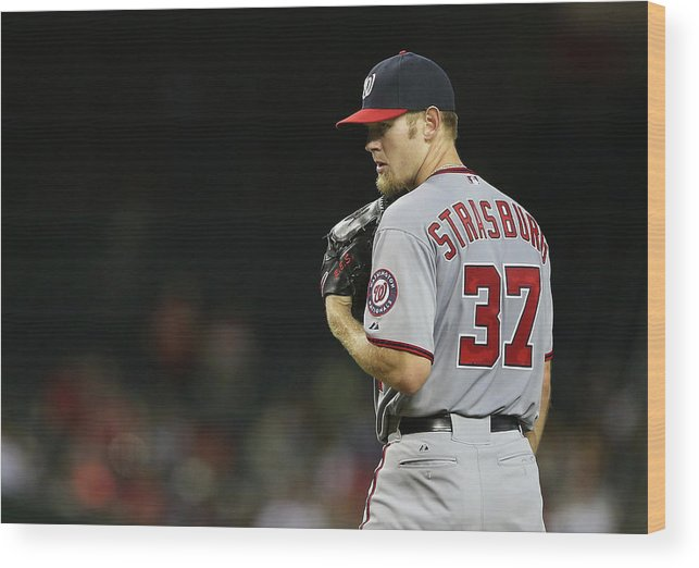 Stephen Strasburg Wood Print featuring the photograph Stephen Strasburg by Christian Petersen