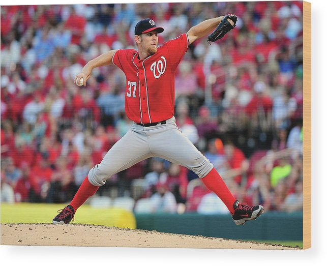 Stephen Strasburg Wood Print featuring the photograph Stephen Strasburg by Jeff Curry