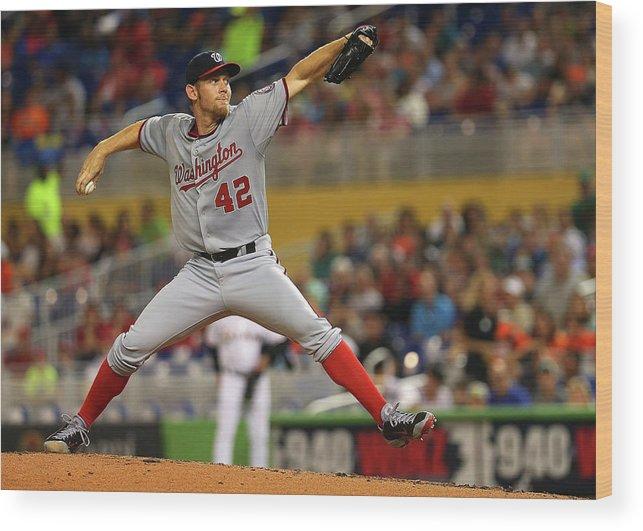 American League Baseball Wood Print featuring the photograph Stephen Strasburg by Mike Ehrmann