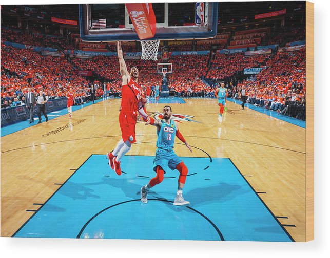 Playoffs Wood Print featuring the photograph Steven Adams and Enes Kanter by Zach Beeker