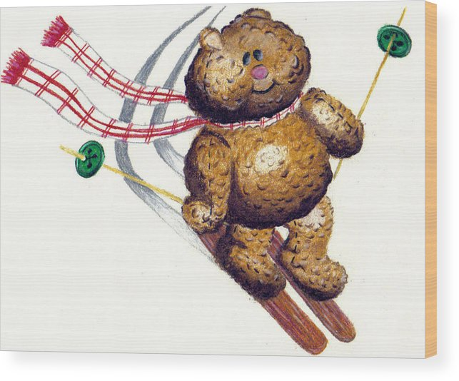 Nursery Wood Print featuring the drawing Teddy by Kori Vincent