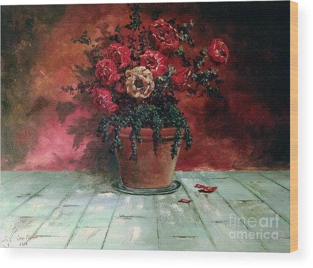 Still Life Wood Print featuring the painting The Yellow Rose by Lee Piper
