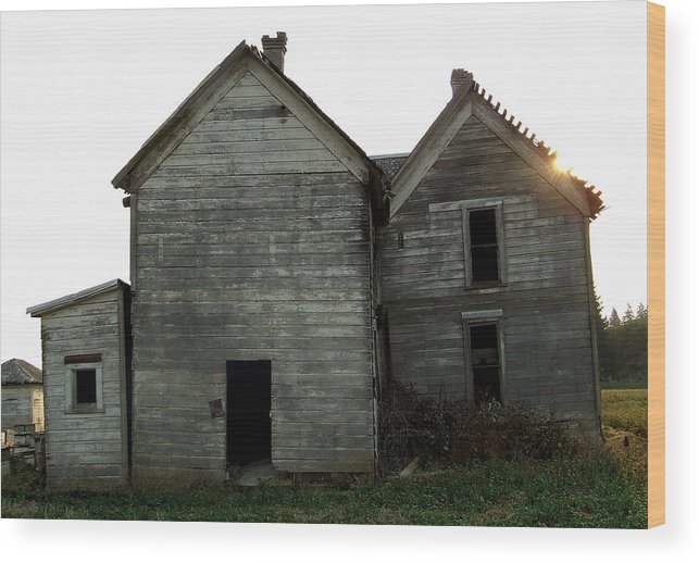 Derelict Wood Print featuring the photograph There Was A Crooked House by Everett Bowers